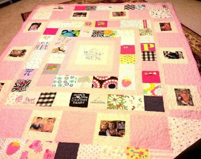 Baby Clothes Quilt - Queen Size - Custom Made Memory Quilt