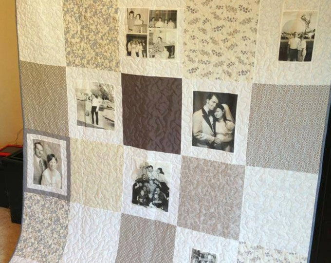 16 Photo Vintage Style Photo Memory Quilt custom made to order