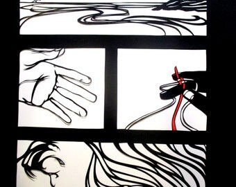 And Here Is Your Lanyard - panel papercut inspired by Billy Collins poem - black and white