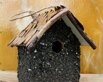 Stone Birdhouse Hanging Birdhouse Functional Birdhouse Wood Roof Birdhouse