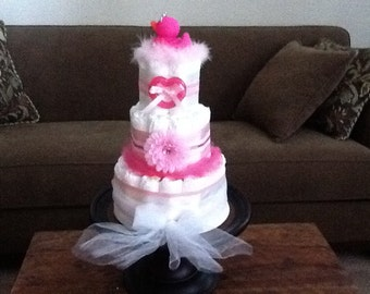 Princess Diaper Cake Baby Shower Centerpieces other colors,designs and toppers too three tier