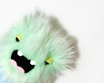 Monster Plush - Furry Green and Blue Stuffed Toy