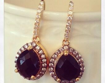SALE - Gold Diamond and Black Onyx Teardrop Earrings