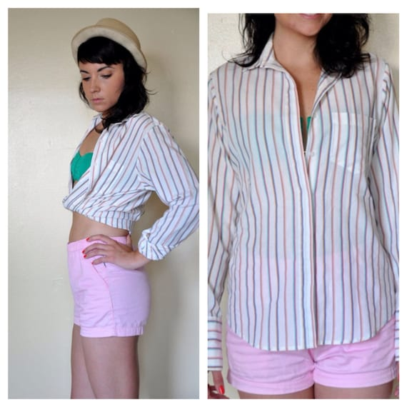 5 SALE // vintage white striped // BUTTON UP // summer shit colorful collar shirt // medium large