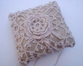 Wedding Lace Ring Bearer Pillow (pin cushion) Handcrafted Crochet by designer Kelly Taylor, handmade, Natural lace ring pillow