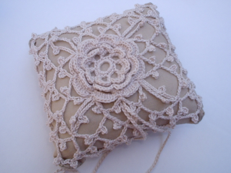 Pattern Crochet Wedding Lace Ring Bearer Pillow Pin By KellysGifts