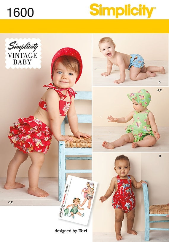 Baby Clothes Pattern Vintage Style Romper Hat Panties