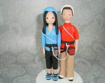Bride & Groom Custom Hiking Theme Wedding Cake Topper