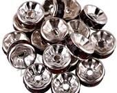 Vintage 10 Dark Chocolate BrownCrystal Silver Plated 8mm Spacer Beads GR8