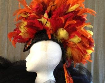 Fire Dragon Feather Mohawk Festival Headpiece