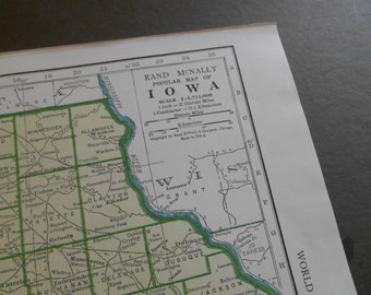 Iowa, Kansas Original 1947 antique vintage 1940s US State map