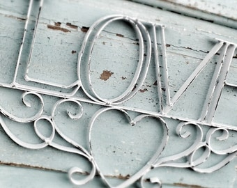 Love Sign, Wall Hanging, Shabby Chic White, Vintage Style Sign, I Love You