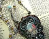 Paris Memories -  Beaded Fiber Assemblage Necklace - Reserved for Marylnn