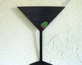 Martini metal wall art sculpture kitchen art upcycled metal wall bar dining room cocktails party wall art