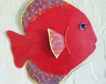 Metal Wall Art Fish Sculpture Tropical Sun Fish Ocean Art Wall Beach House Decor Red Nautical Design 7 x 7