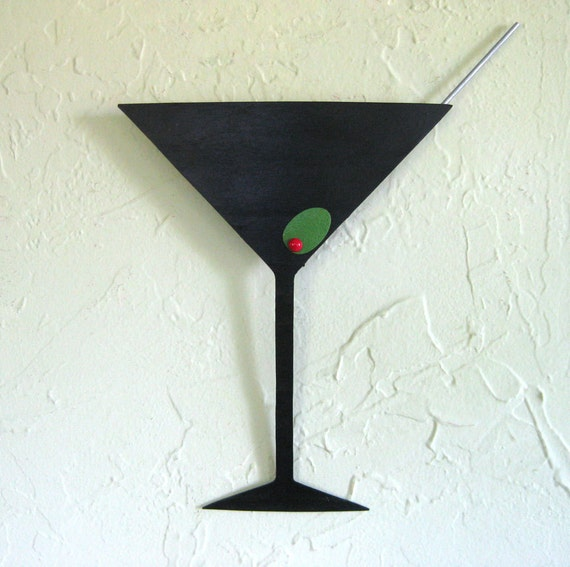 Metal Wall Art For Dining Room : Martini metal wall art sculpture kitchen by