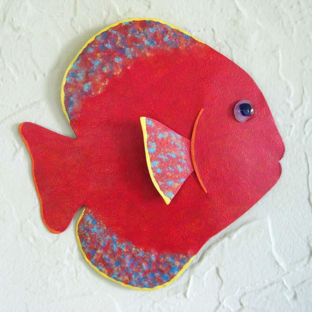 Metal wall art fish sculpture tropical sun fish ocean art wall for Fish wall art