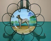 Fabulous Vintage 1950s Great Dane Dog Porcelain Plate, Hand Painted in Japan, Bold Colors