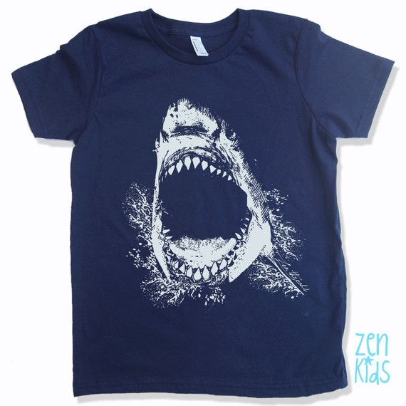 Kids tee shark shirt eco screen printed colors by zenthreads for Screen print tee shirts cheap