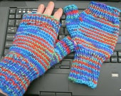 Multicolored Blue Half-Mitts - Size Large