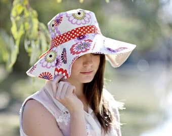 Womens Sun Hat Pattern. Spring Blooms Sunhat PDF Sewing Pattern. Reversible Wide Brimmed Sun Hat with Optional Trim