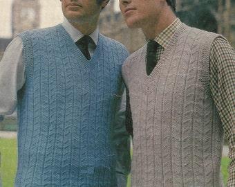 "PDF Knitting Pattern Mens Patterned V Neck Waistcoats Sizes 40"" to 44"""