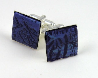 Purple Turquoise Cufflinks, polymer clay faux stone inlay in square silver tone cuff links