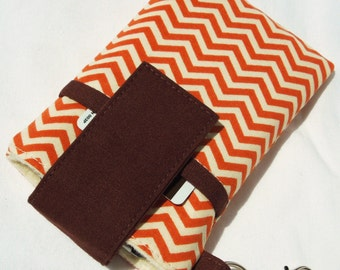 SALE - smart phone sleeve cover,iphone 7/7s/6s/6,cellphone cover for samsung galaxy s8/s7/note,HTC 10 - Orange Cream chevron, orange zigzag