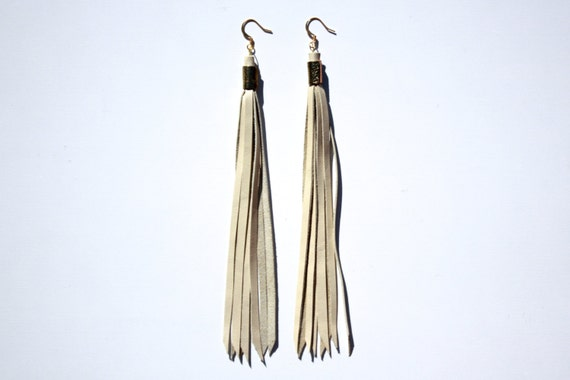 Cream Leather Tassel Fringe Earrings with Gold Nickel Free Ear Wires