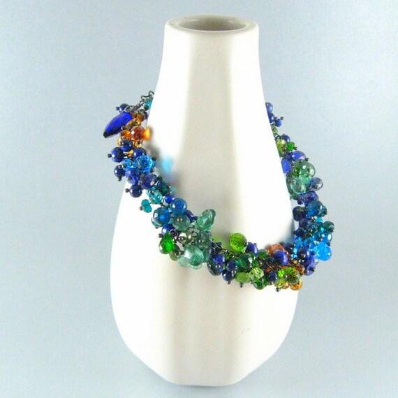 Reserved - Handmade Gemstone Bracelet With Oxidized Silver