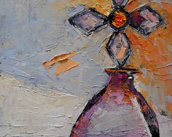 """Cross Bottle Painting, Oil Still Life, Palette Knife Still Life, """"Pretty in Pink"""" 6x8"""" Textured Painting"""