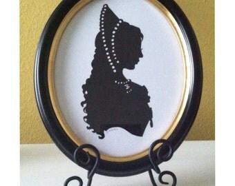 The Tudors. Anne Boleyn Original Hand Cut Silhouette with Real Wood Oval Frame
