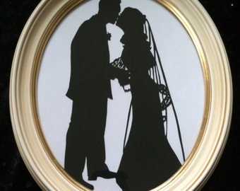 Custom Silhouette First Anniversary Gift in Antiqued Ivory 8x10 Oval Frame
