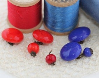 Vintage - Glass Round Beads with metal loops - Buttons or Earrings Destash Crafters Find (7) Fire Engine Red, Royal Blue