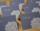 Hydrangea Place Cards, Weddings, Custom Colors, Blue, White, Paper Goods, Invitation, RSVP, Save Date, Program Fans, Menus, Thank You