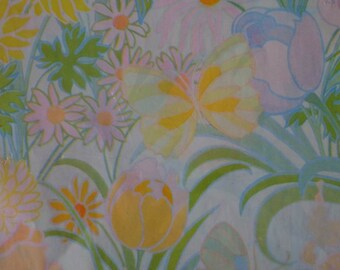 Vintage Gift Wrap All Occasion 1970s Wrapping Paper--Butterflies & Floral Pastel--2 Sheets NIP