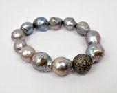 SALE Silver Cuff, Diamond Grey Baroque Pearl Bracelet, Layering Bracelet, Stretch Bracelet, Statement Bracelet