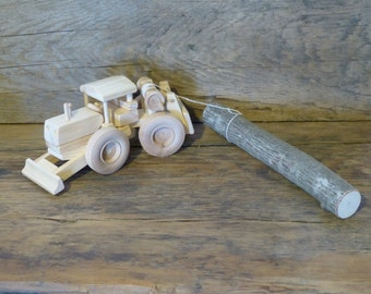 Handmade Wood Toy Logging Skidder Wooden Toys John Deere Tractor Swamp loggers fun Lumberjack woodcraft made in USA