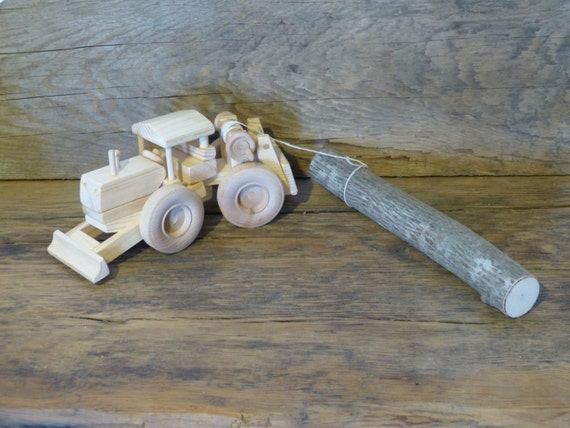 Wooden Toy Log Skidder : Handmade wood toy logging skidder wooden toys john deere