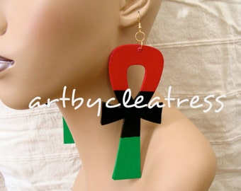 Ankh Earrings in Red Black and Green