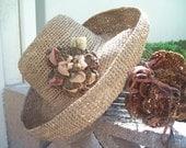 Oatmeal Crocheted Garden Hat with Moss Crocheted Flower