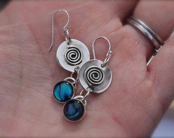 Pau Shell Blue Green. Swirls. sterling silver earrings. OOAK. Circles. handmade.