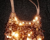 Vintage Copper Spangle Beaded Evening Purse