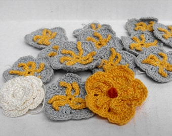 Lot of Crocheted Flowers Grey Yellow White