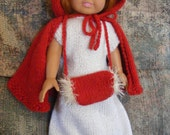Knitted AG Doll Cape with Fur-Trimmed Muff