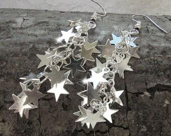 Silver Star Earrings - Dangle Earrings -  Falling Stars