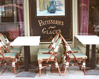 Kitchen Art - Paris cafe in mint green - patisserie, ice cream in Paris, France, - Paris Photography - Paris Decor, Spring in Paris