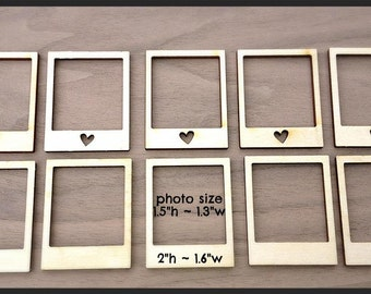 12 Pieces Laser Cut Wood Embellishments- Mini Photo Frames