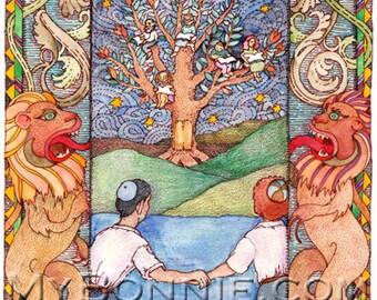 Bar MITZVAH. DIGITAL FILE. Bat Mitzvah. Torah. Lions. Tree of Life. Jewish. Make Thank You Note. Instant Download. Professional Illustration