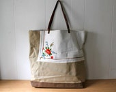 Canvas and leather tote bag - Upcycled needlepoint